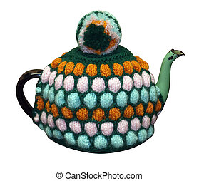 Teapot with knitted cosy isolated with clipping path