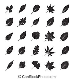 Collection of Black Leafs Vector Illustration