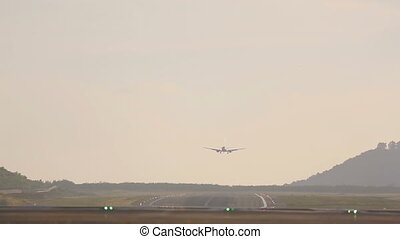 Boeing 737 landing early morning in Phuket