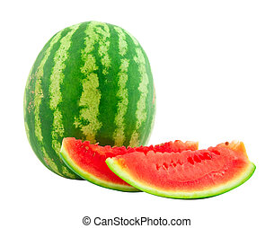 The ripe cut water-melon on a white background - The ripe...