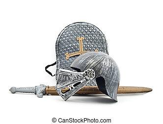 juguete, armadura, knight:, tabla, espada, casco