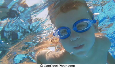 Active water leisure of a child on summer vacation - Slow...