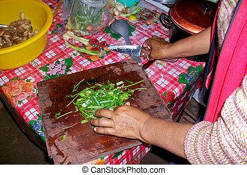 Cozinhar, mulher, Um, cabana, Peru