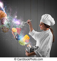 Magic in cooking - Chef with pot and spoon and vegetable