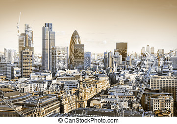 Toned picture of City of London.