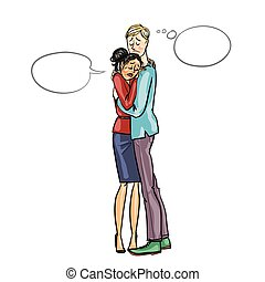 Arguing people isolated on white - Agruing conflicting...