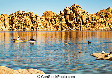Kayaking on Watson Lake in Prescott Arizona - Couple of...