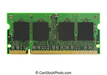 Stick of RAM on white - Stick of RAM isolated on white with...
