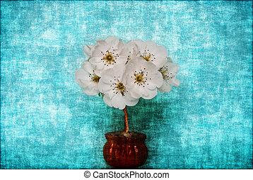 blå, stil,  grunge, blomstrande, träd, bakgrund