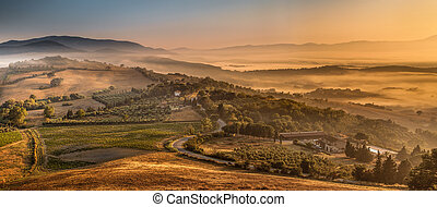 Morning Fog over Tuscan Country, Italy