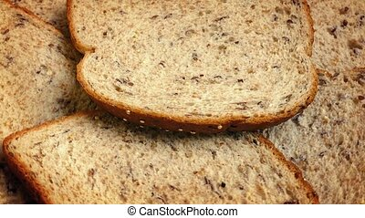 Whole Grain Bread Slices Rotating