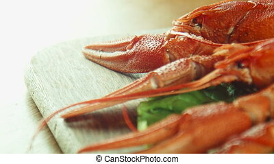 lobsters crayfish on the tray - Close panoramic shot of...