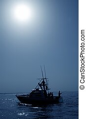 Backlight on blue water sport fishing boat