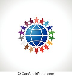 logo - People around the world holding hands. Unity concept...