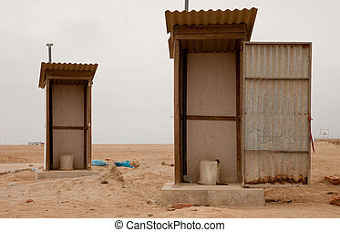 Dirty Toilet In Desert, South America, Peru