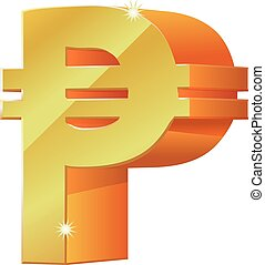 Gold 3D peso symbol vector icon