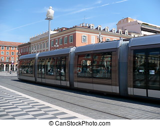 France. French Riviera. Nice. Up-to-date tram on Place...
