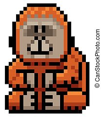 Orangutan - Vector illustration of Cartoon orangutan - Pixel...