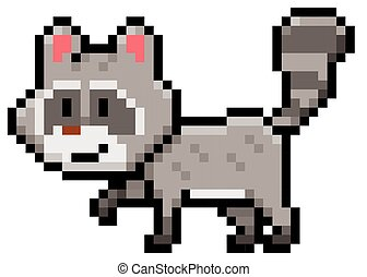 Raccoon - Vector Illustration of cartoon raccoon - Pixel...