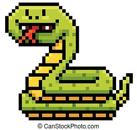 Snake - Vector Illustration of Cartoon Snake - Pixel design