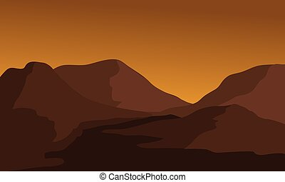 Silhouette of mountain and river