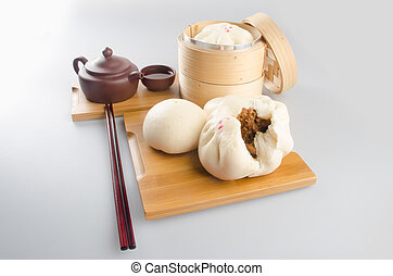 Pao or Steamed BBQ Pork Asian Buns Ready to Eat. - Pao or...