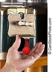 Gumball Machine - Gumball machine dropping red gumball