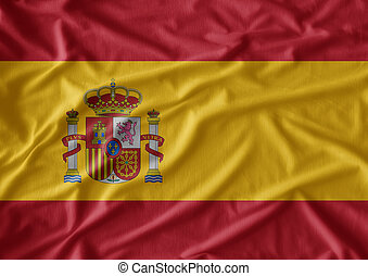 Waving flag of Spain. Flag has real fabric texture
