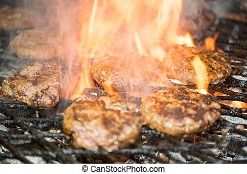 tasty burgers on the grill