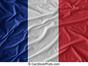 Waving flag of France. Flag has real fabric texture