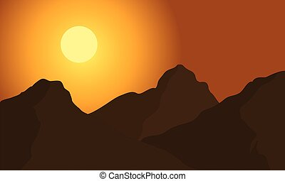 Hight mountain silhouette - Hight mountain of silhouette at...