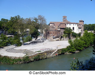 Italy Rome Tiber Island - The Tiber Island is a boat-shaped...
