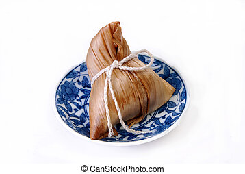Steamed rice dumpling on white background