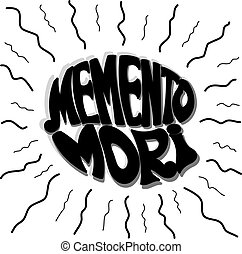 Memento Mori wavy rays. Vector illustration