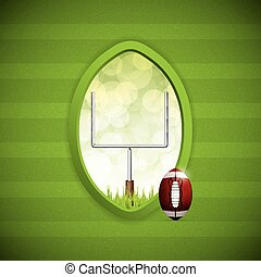 American football frame with goalpost and ball. Vector...