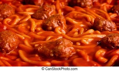 Meat Balls And Spaghetti Closeup - Closeup of spaghetti and...