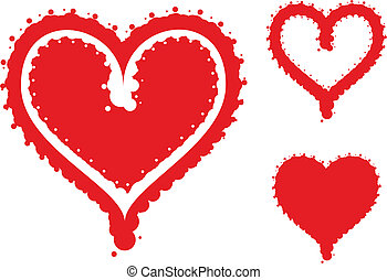 Funky heart set - Vector of 3 funky hearts for Valentines...