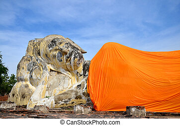 Reclining Buddha of Wat Lokayasutharam Temple in Ayutthaya...