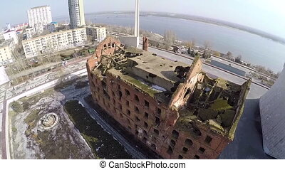 Flying over Gergart Mill in Volgograd, Russia - Aerial shot...