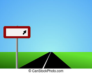 Straight road with blank sign - Illustration of straight...