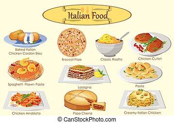 collezione, di, delizioso, italiano, cibo,
