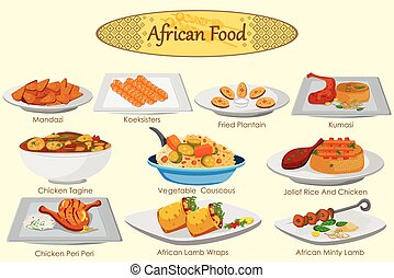 Collection of delicious African food in vector