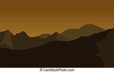 Silhouette of big mountain at the night