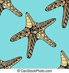 Seamless background of Starfish. Zentangle Vector...