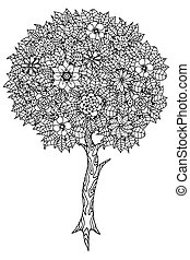 Tree with leaves and flowers Vector Coloring book page for...