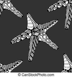 Seamless background of Starfish. Zentangle Vector...