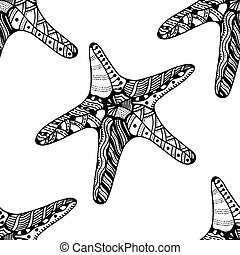 Seamless background of Starfish Zentangle Vector...