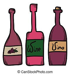 Set of hand drawn vector wine bottles