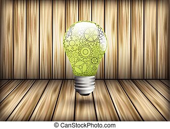 Pinions as a design element light bulb on background of...