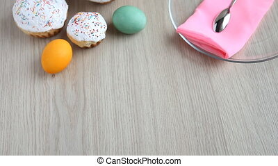 Woman put plate of Easter cake, but she changed her mind and took the plate back